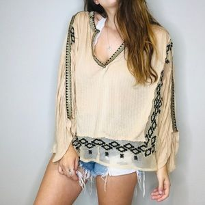 Free people embroidered mesh boho top